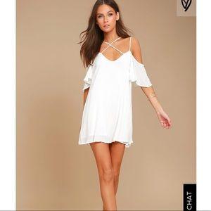 LULUS Afterglow white shift dress